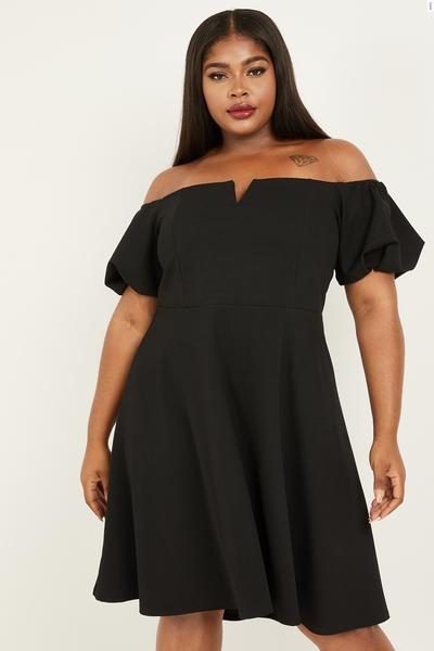 Curve Black Puff Sleeve Bardot Dress
